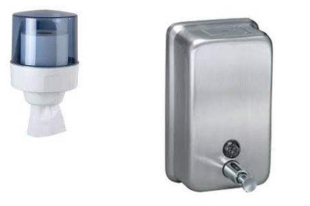 Soap and Centerfield roll Dispensers